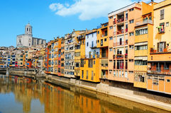 Girona, Spain. Houses over Onyar River in Girona, Spain Stock Images