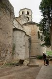 Girona, Spain, August 2018. Medieval cathedral and ancient well. royalty free stock images