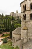 Girona, Spain, August 2018. View of the inside of the old fortress and the park. stock images