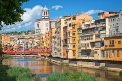 Girona, Spain. Colorful house line and medieval cathedral in catalan city of Girona, Spain Royalty Free Stock Photo