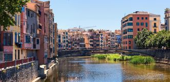 Girona. Spain. Heat. Siesta. View of the ancient city from the river stock photos