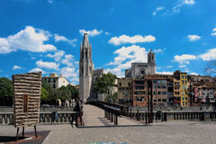 Girona, Spain, may 2016: Collegiate Church of Sant Feliu (Felix) Stock Images