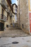 Steep streets-stairs of the old Girona Royalty Free Stock Photography