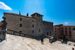 GIRONA, SPAIN - MAY 2016: View of Gerona -Stairway of  Gothic Cathedral in Girona Stock Photo