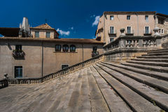 GIRONA, SPAIN - MAY 2016: View of Gerona -Stairway of Gothic Cathedral Stock Photography