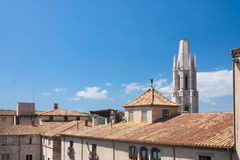 GIRONA, SPAIN - MAY 2016: View of Girona - Casa Pastors in Placa de Cathedral Stock Photos