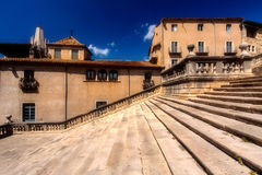 GIRONA, SPAIN - MAY 2016: View of Girona - Gothic Cathedral in G. GIRONA, SPAIN - MAY 2016: View of Gerona -Stairway of Gothic Cathedral in Girona, Spain. One of Stock Images