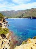 Girona Spanien härlig sikt av sjön med fartyg royaltyfria bilder