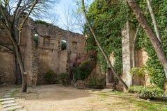 Girona stary miasteczko, średniowieczny podwórze obrazy stock