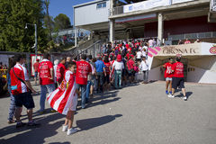 Girona supporters. In the stadium before the Spanish Second Division League match between Girona FC and CD Lugo, final score 1 - 1, on June 7, 2015, in Girona Stock Photos