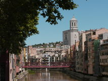 Girona view. A beautiful view to the church and red bridge in girona,  spain Stock Photo