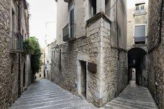 Girona & x28; Catalunya, Spain& x29; , vecchie vie Immagini Stock Libere da Diritti
