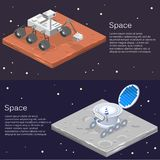 Girovago lunare isometrico sulla superficie della luna illustrazione di stock