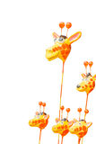 Girraffe statue. Basket on White Royalty Free Stock Photo