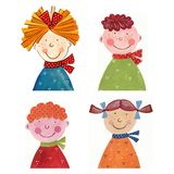 Girs and boys. Artistic work. Watercolours on paper Royalty Free Stock Photo