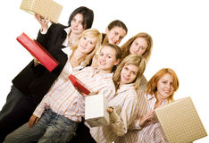 Girs with gifts Royalty Free Stock Photo