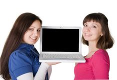 Girs with laptop Royalty Free Stock Image