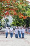 Girsl della scuola dentro da solo, Indosia Fotografia Stock