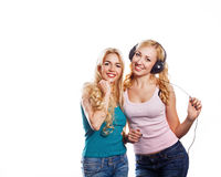 Girsl with headphones Royalty Free Stock Images