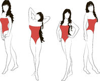Girsl in red swimsuit Stock Images