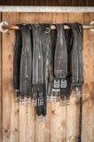 Girths na frente de uma porta estável Imagem de Stock Royalty Free