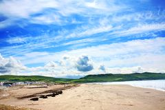 Girvan,  Scotland, sunny beach Royalty Free Stock Photos