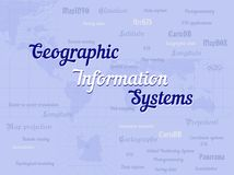 Geographic information system banner with lettering. Vector. Light background. Geographic information systems, gis, cartography and mapping. Web mapping. GIS vector illustration