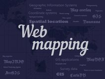 Web mapping and GIS geographic information systems vector banner with lettering and dark background. Web mapping and geographic information systems, gis stock illustration