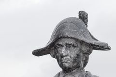 Close up of a bronze statue of Captain James Cook. Gisborne, New Zealand - April 24th, 2017: Close up of a bronze statue of Captain James Cook, The image was stock photography