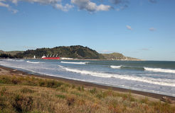 Gisborne - New Zealand. Midway beach at Gisborne on the east coast of the North Island in New Zealand. This town is a major centre on the east coast of the North Stock Photo