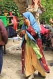 Ägäischer Bereich - Tenedos-Insel, die Schauspieler und die Kostüme eines Liebesgeschichteletztbuchstabefilms Lizenzfreies Stockbild