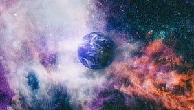 Gisement d'étoile montrant le ciel nocturne avec les étoiles et la nébuleuse vue de vecteur d'espace d'illustration de la terre É illustration libre de droits