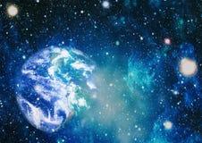 Gisement d'étoile montrant le ciel nocturne avec les étoiles et la nébuleuse vue de vecteur d'espace d'illustration de la terre É photos libres de droits