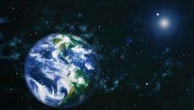 Gisement d'étoile montrant le ciel nocturne avec les étoiles et la nébuleuse vue de vecteur d'espace d'illustration de la terre É image stock