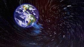 Gisement d'étoile montrant le ciel nocturne avec les étoiles et la nébuleuse vue de vecteur d'espace d'illustration de la terre É photo stock