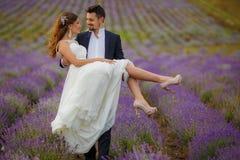 Gisement de lavande de mariage Images stock