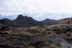 Gisement de lave dans la vallée géothermique Image libre de droits