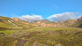 Gisement de lave de Laugahraun, réserve naturelle de Fjallabak, Islande Photographie stock libre de droits