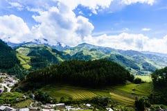 Gisement de riz dans la ville montagneuse Image stock