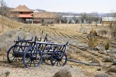 Gisement rustique décoratif de chariot au printemps photo stock