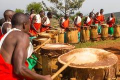 Gishora Drummer in Burundi. Drummers of the gishora drumming group Royalty Free Stock Photo