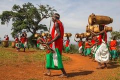 Gishora Drummer in Burundi. Drummers of the gishora drumming group Stock Photos
