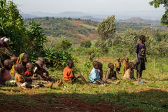 Gishora Drummer in Burundi Kids Viewers. Drummers of the gishora drumming group Stock Images