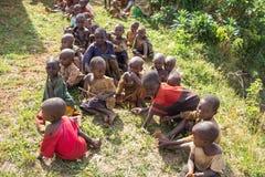 Gishora Drummer in Burundi Kids Viewers. Drummers of the gishora drumming group Royalty Free Stock Image
