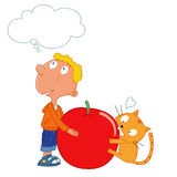 Gissing wat, jongen en een leuke kat, rode appel Stock Afbeeldingen
