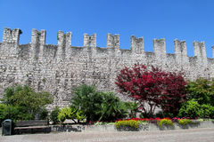 Historical fortification wall in city park in Europe Stock Photos