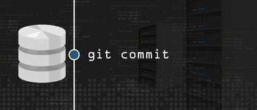 Git commit programming coding server and database Stock Photo