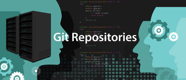 Git repositories software subversion backup server process in programming and coding Royalty Free Stock Photo