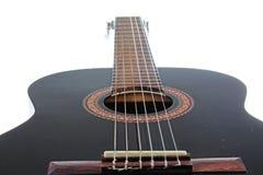 Gitaar artsy POV achtergrond Muziekillustratie Zwart-witte gitaarclose-up stock afbeeldingen