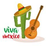 Gitaar en cactus Mexicaanse cultuur vector illustratie
